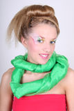 Beautiful woman with creative make-up and coiffure Royalty Free Stock Photography