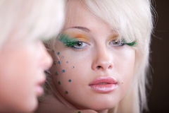 Beautiful woman with creative makeup Royalty Free Stock Images
