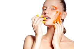 Beautiful woman with creative makeup Stock Photos
