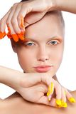 Beautiful woman with creative makeup Stock Images