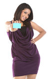 Beautiful woman with credit card. Beautiful woman standing with  the  credit card Royalty Free Stock Image