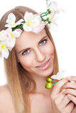 Beautiful woman with a crown of flowers Royalty Free Stock Photos