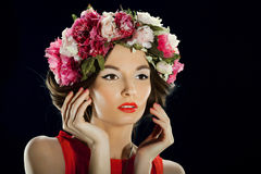 Beautiful woman with a crown on head Stock Photography