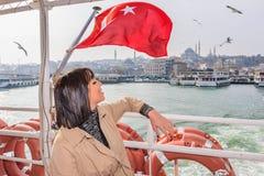 Beautiful woman travels in Istanbul,Turkey stock photos