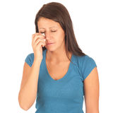 Beautiful woman is crying. And holding handkerchief Stock Images