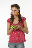 Beautiful woman with cucumbers Royalty Free Stock Images