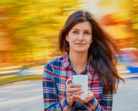 Beautiful woman with cup Stock Photo