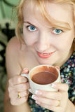 Beautiful woman with a cup of chocolate Royalty Free Stock Photography