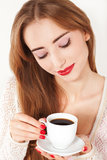 Beautiful Woman with cup of Coffee close up Royalty Free Stock Photo