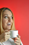Beautiful woman with cup of coffee Royalty Free Stock Images