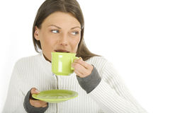 Beautiful Woman with cup of coffee Stock Photography