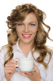 Beautiful woman with cup in her hand Stock Photos