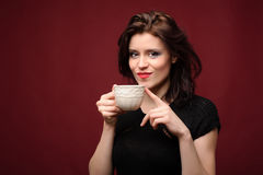 Beautiful woman with cup of tea or coffee Royalty Free Stock Photo