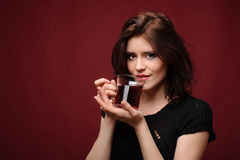 Beautiful woman with cup of tea or coffee Stock Photos