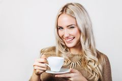 Beautiful Woman With Cup of Tea or Coffee Stock Image