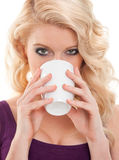 Beautiful woman with cup of water Stock Photos