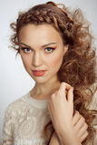 Beautiful Woman. Curly Hair Royalty Free Stock Images