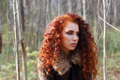 Beautiful woman with curly hair in leather jacket. Poses in sunny autumn forest Royalty Free Stock Image