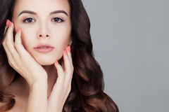 Beautiful Woman. Cute Face. Healthy Hair and Clear Skin Stock Photo