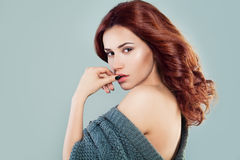 Beautiful Woman with Cute Face, Red Curly and Healthy Skin Royalty Free Stock Photo