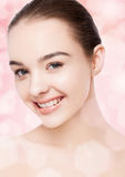 Beautiful woman with cute smile natural makeup spa Royalty Free Stock Photos