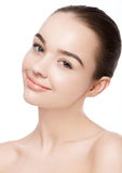 Beautiful woman with cute smile natural makeup spa Stock Photography