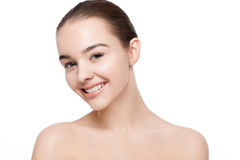 Beautiful woman with cute smile natural makeup spa Royalty Free Stock Photo