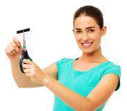 Beautiful Woman Cutting Credit Card Royalty Free Stock Images