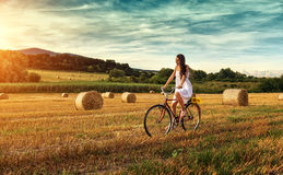 Beautiful woman cycling on an old red bike, in a wheat field Royalty Free Stock Photos