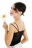 Beautiful woman with daisy flower Royalty Free Stock Photography