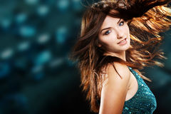 Beautiful Woman Dancing And Smiling Stock Photography
