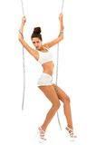 Beautiful woman is dancing with chain Royalty Free Stock Photos