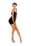 Beautiful woman is dancing in studio stock photo