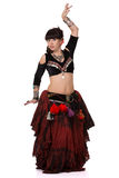 Beautiful woman dancing trible eastern belly dance. Royalty Free Stock Image