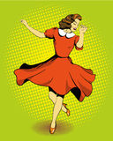 Beautiful woman dancing. Vector illustration in comics retro pop art style Royalty Free Stock Photo