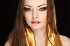Beautiful woman on dark Royalty Free Stock Photo