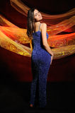The beautiful woman in a dark blue dress Royalty Free Stock Photo