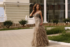 Beautiful woman with dark curly hair in luxurious sequin dress. Fashion outdoor photo of gorgeous woman with dark curly hair in luxurious sequin dress stock photos