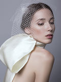 Beautiful woman with dark hair in fashion dress with veil on face Royalty Free Stock Image
