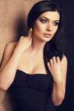 Beautiful woman with dark hair with golden make up Stock Photography