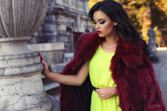 Beautiful woman with dark hair in luxurious fashion fur coat Stock Photos