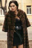 Beautiful woman with dark hair in luxurious fur coat and gloves Royalty Free Stock Photography