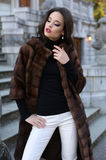 Beautiful woman with dark hair in luxurious fur coat posing on stairs Stock Photos