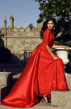 Beautiful woman with dark hair wears luxurious red dress Stock Photography