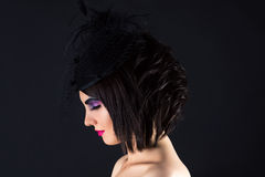 Beautiful woman with dark makeup, profile face with veil Royalty Free Stock Photography