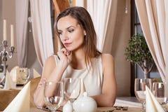 Beautiful woman on a date Stock Photo