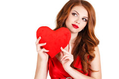 Beautiful woman in the Day of Love. Stock Photos