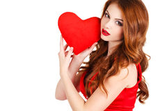 Beautiful woman in the Day of Love. Royalty Free Stock Images
