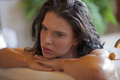Beautiful woman deep in thought Royalty Free Stock Photography