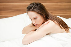 Beautiful woman in depression Royalty Free Stock Photo